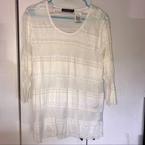 Casual Express ivory Lace Tee